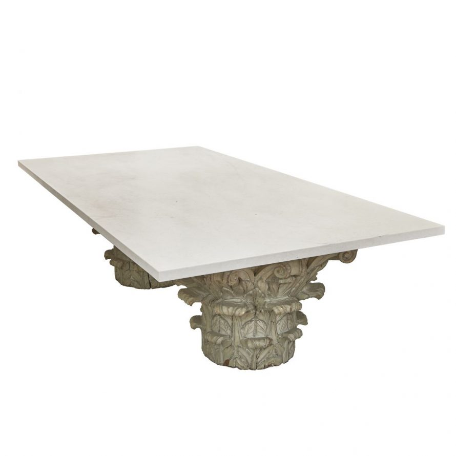 Low Marble Topped Table With Carved Wood Corinthian Capital Base