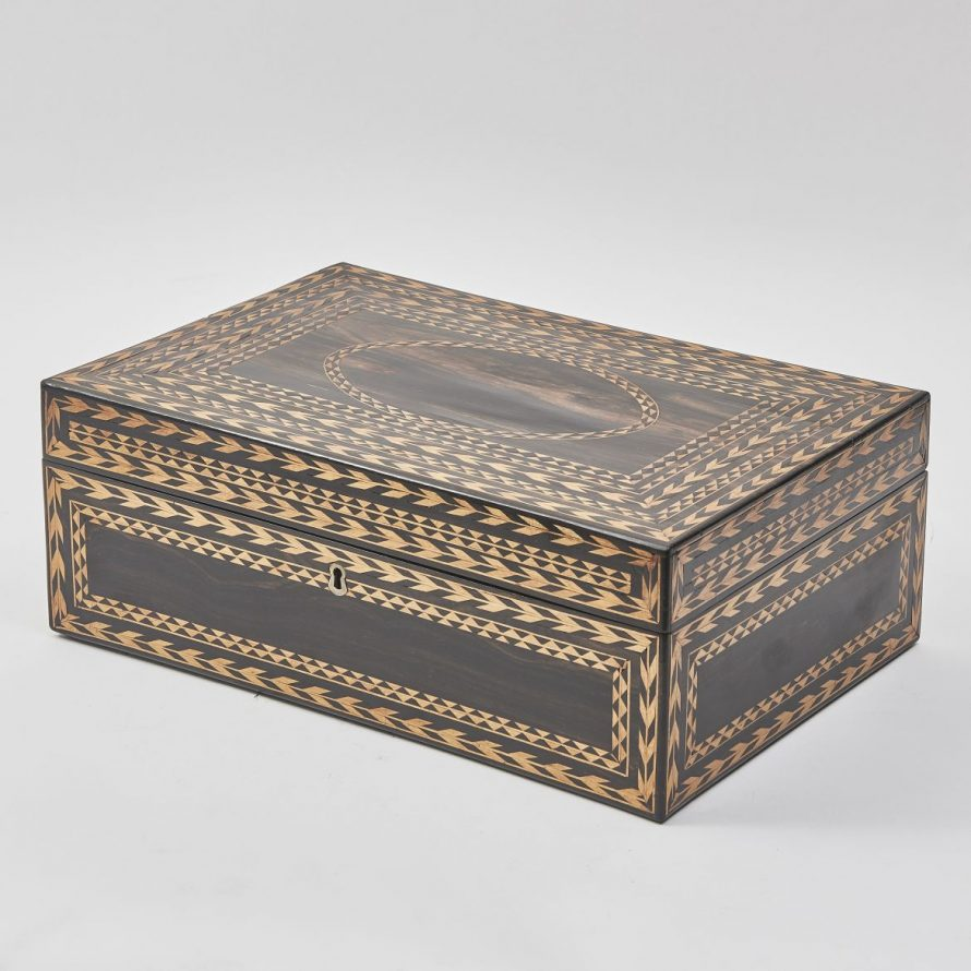 Large Ceylonese Inlaid Ebony work box