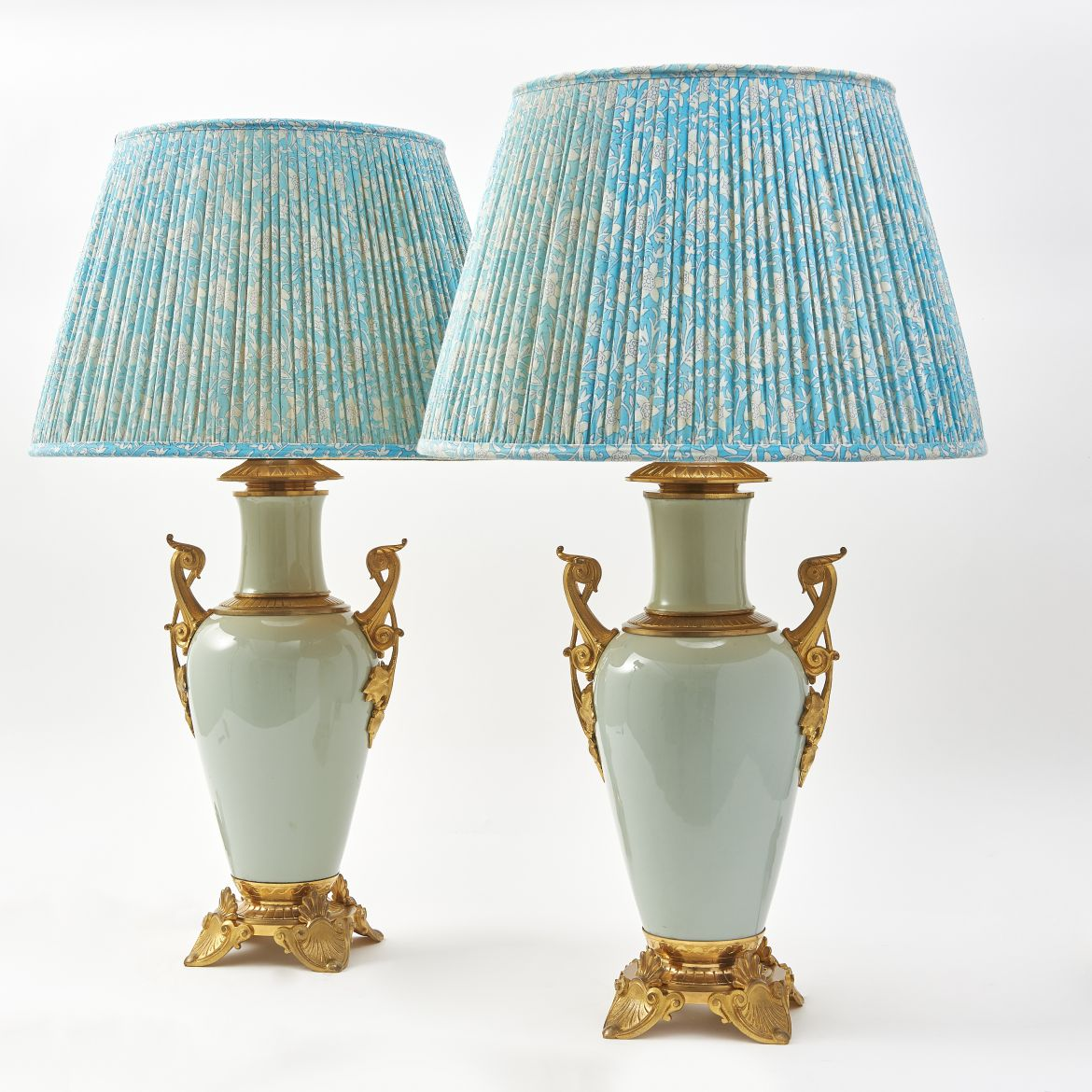 Chinese Celadon Vases With Egyptian Revivalist Style Mounts Wired As Lamps