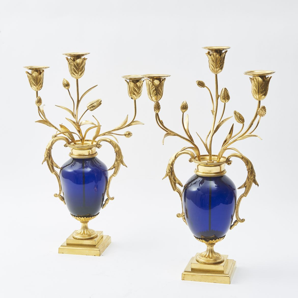 Georgian Bristol Blue Glass Urn Shaped Candelabra