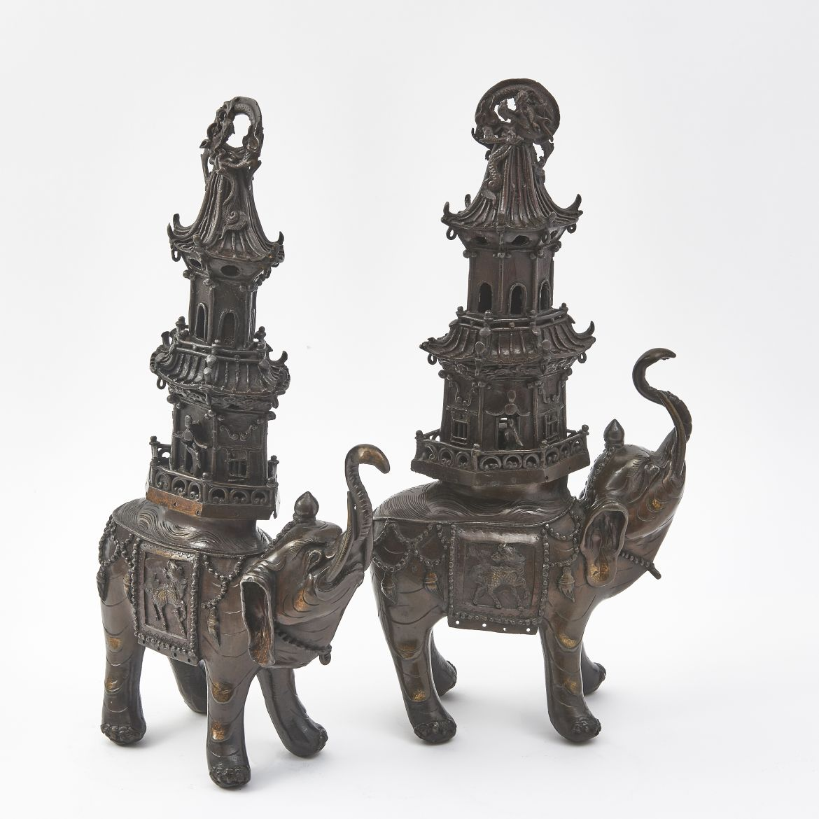 Pair Japanese Bronze Caparisoned Elephant Incense Burners