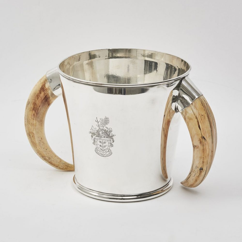 English Silver Plate Ice Bucket With Boar Tusk Handles