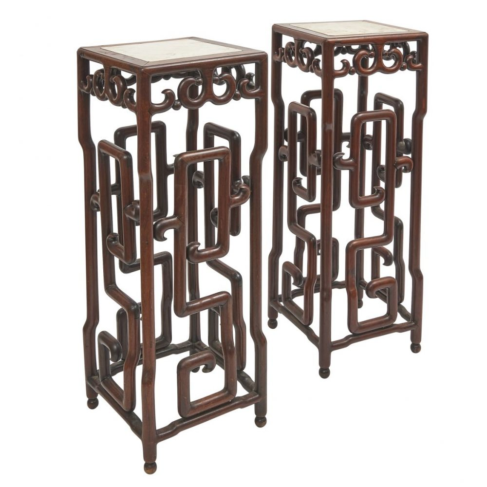 Chinese Carved Hongmu Geometric Vase Stands
