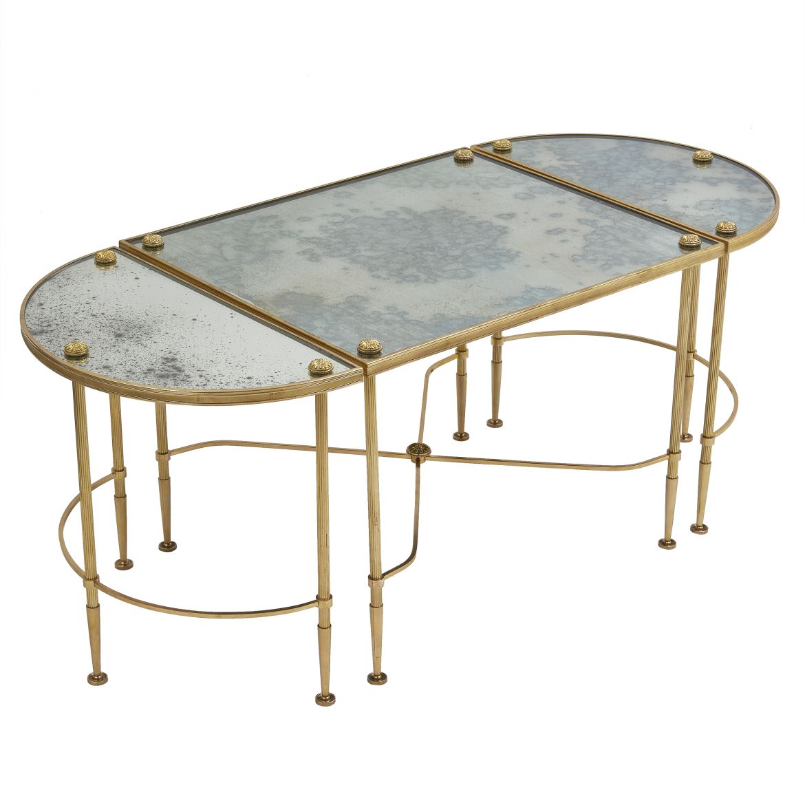 French Bagues Style Gilt Bronze Three Part Table