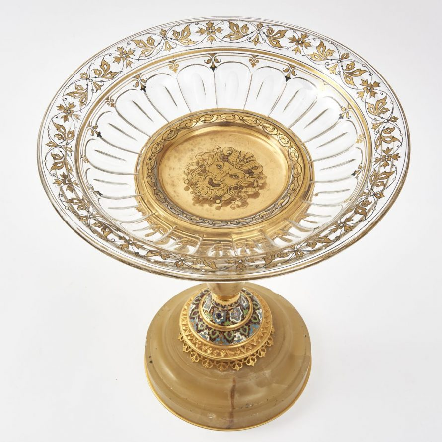 French Champlevé Enamel, Gilt Bronze And Onyx Tazza