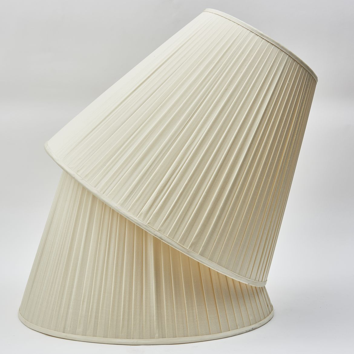 Ivory Silk Knife Pleat Shades