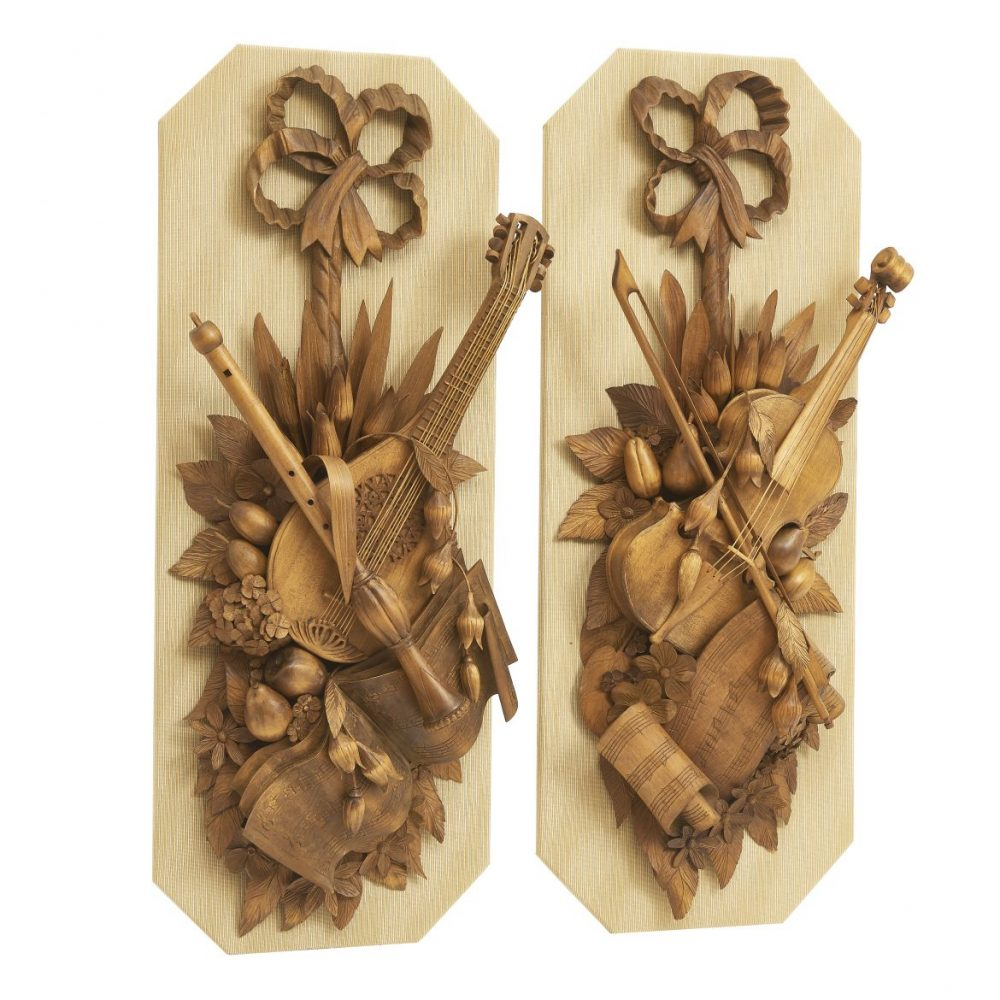 Softwood Music Themed Trophies In The Style Of Grinling Gibbons