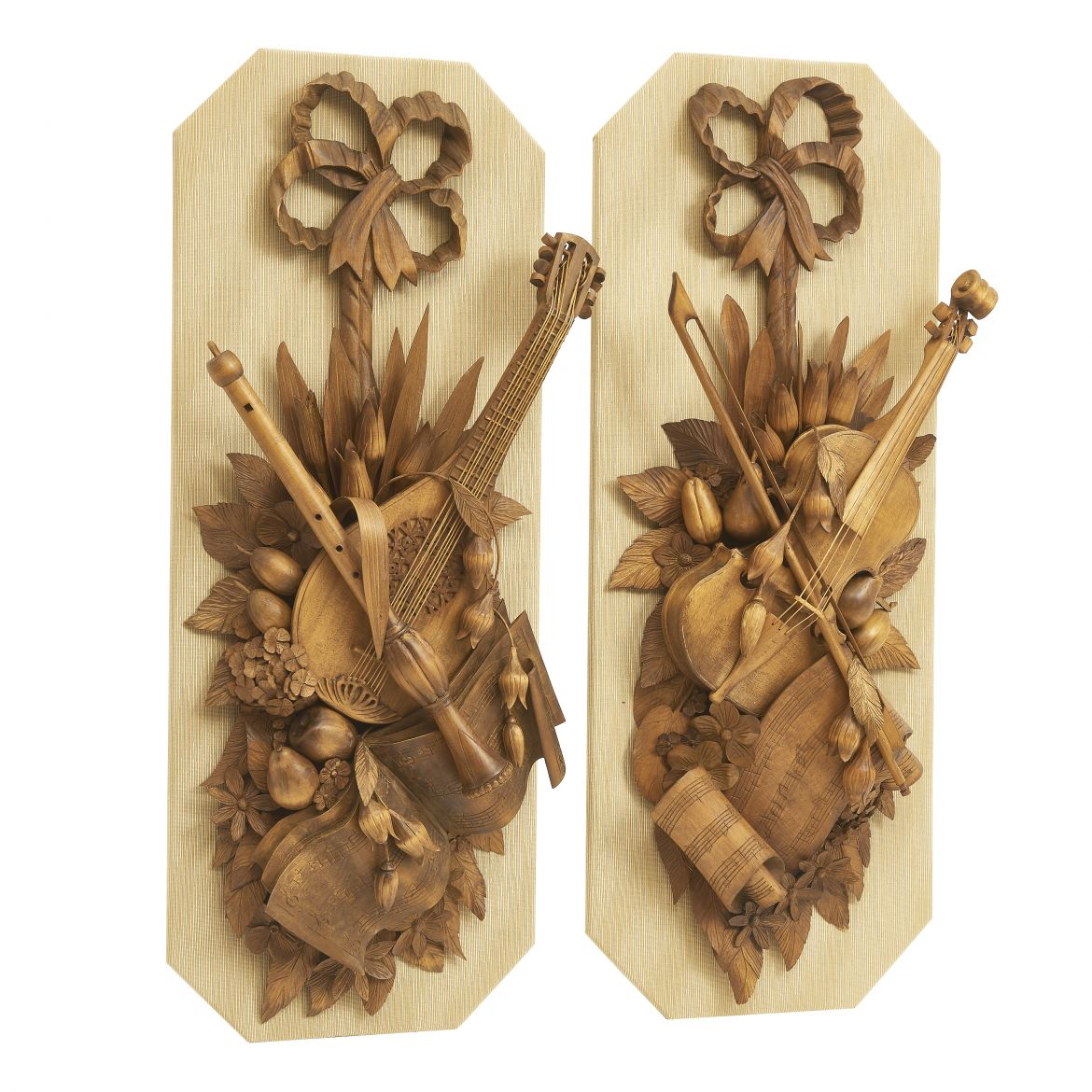 Carved Wood Music Themed Trophies In The Style Of Grinling Gibbons
