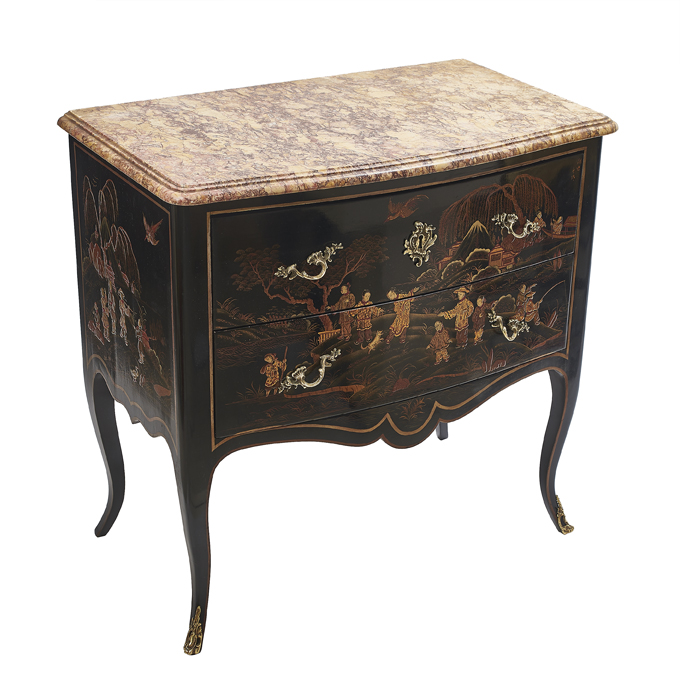 Louis XV Style Black Lacquer Chinoiserie Commode
