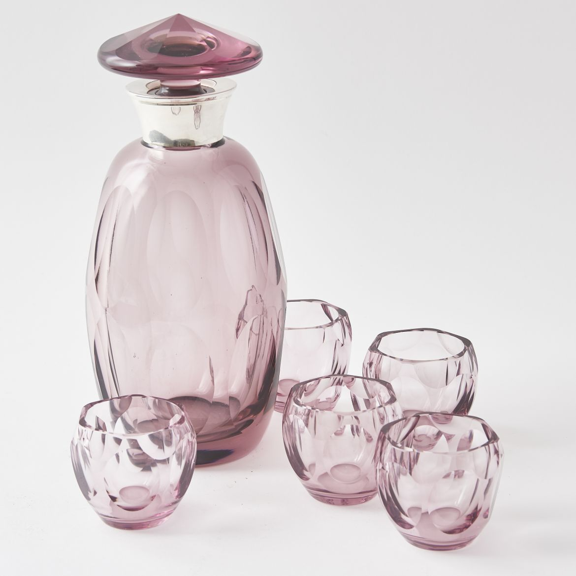 Amethyst Decanter And Matching Tumblers