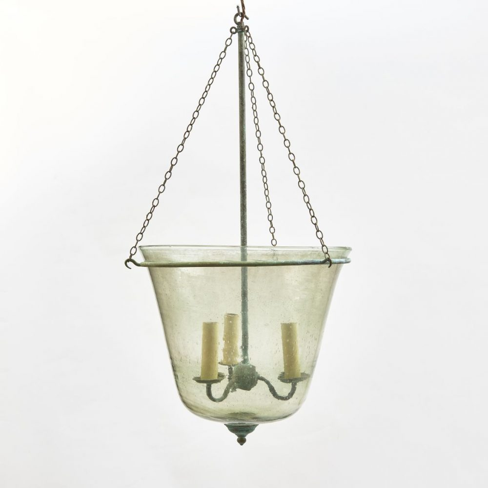 Victorian Green Glass Cloche Made Into Lantern