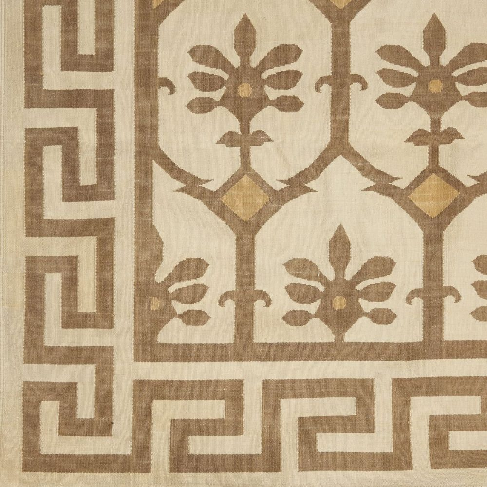 Contemporary Bhopal Design Beige Dhurrie