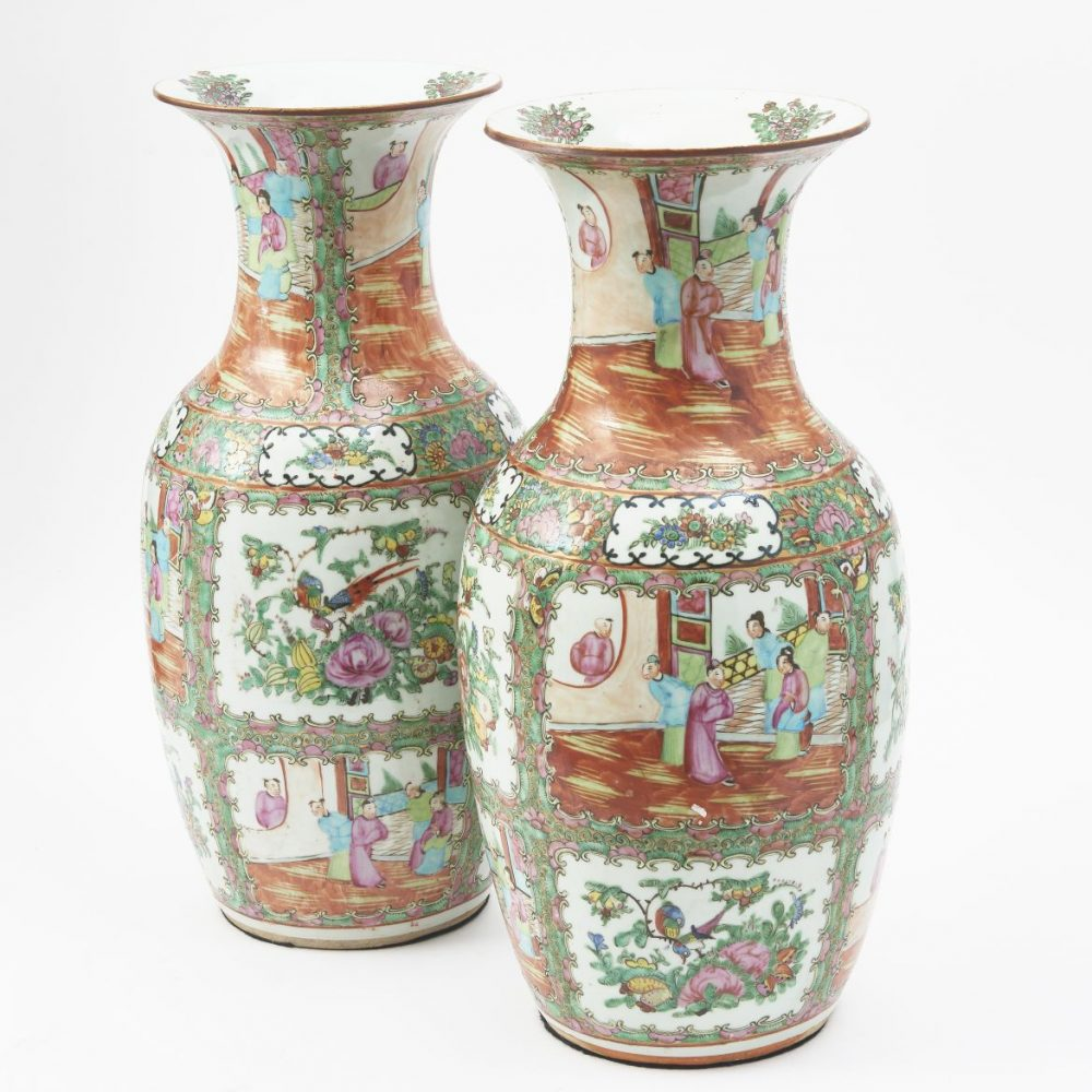 Pair Chinese Canton Baluster Vases