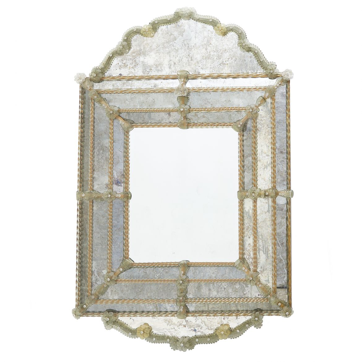 Antiqued Glass Venetian Arched Top Mirror With Glass Flowers
