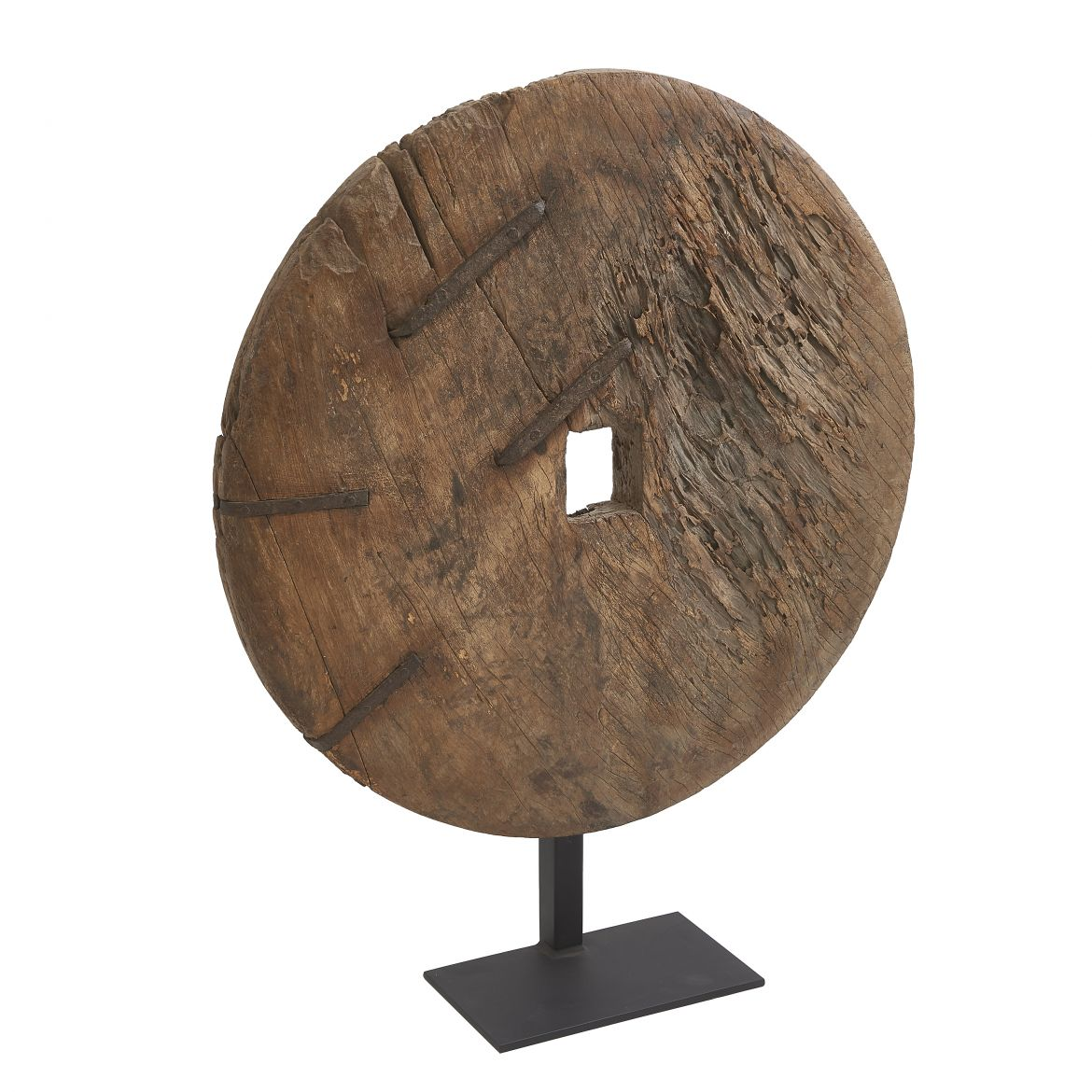 Carved Wooden Wheel On Stand