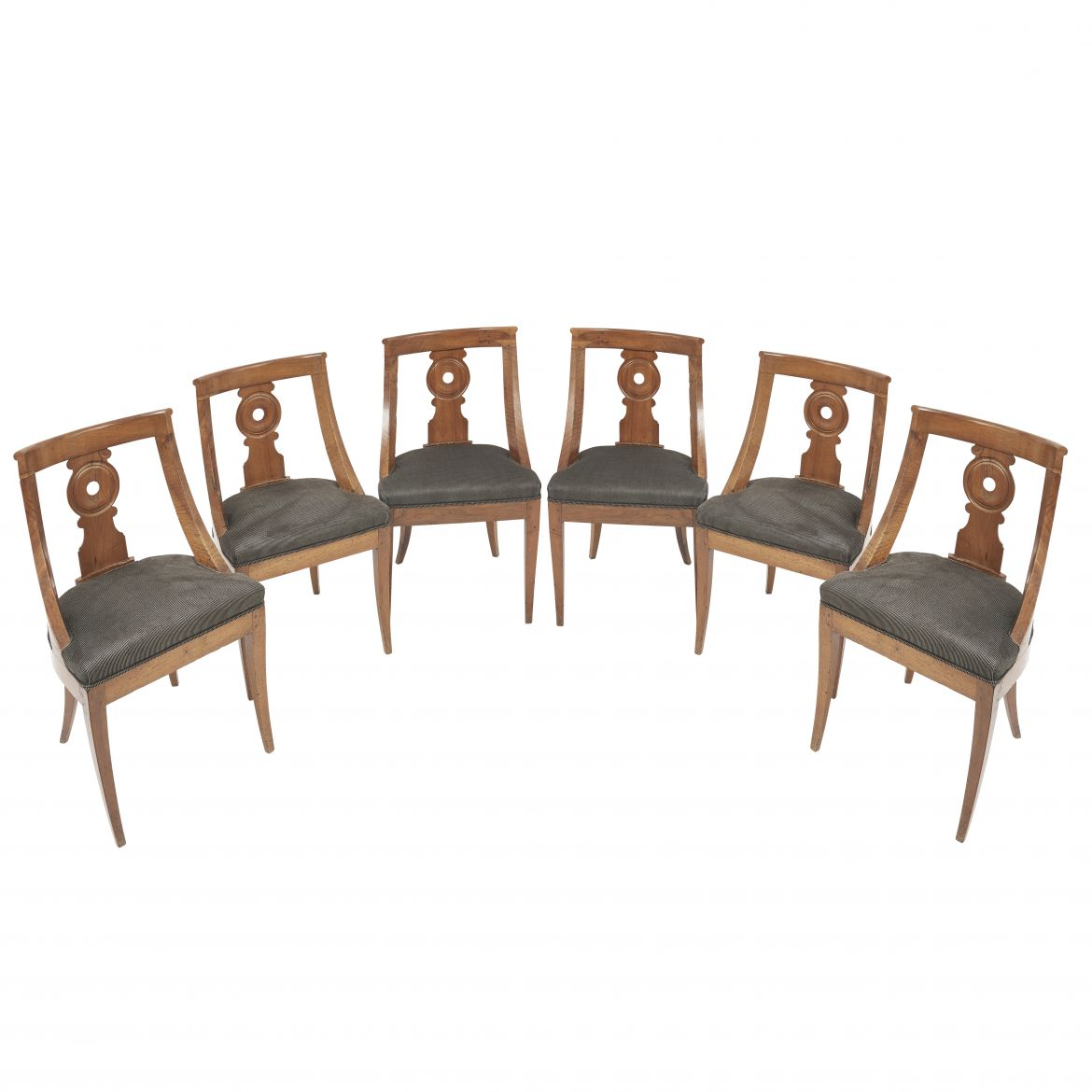Set Six Provincial Louis Philippe Walnut Spoonback Chairs