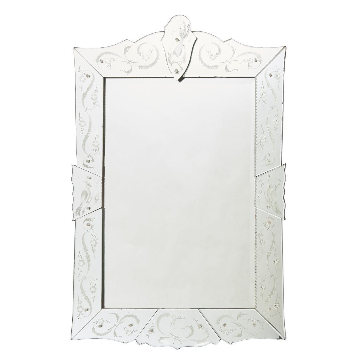 French Venetian Style Mirror With Engraved Birds