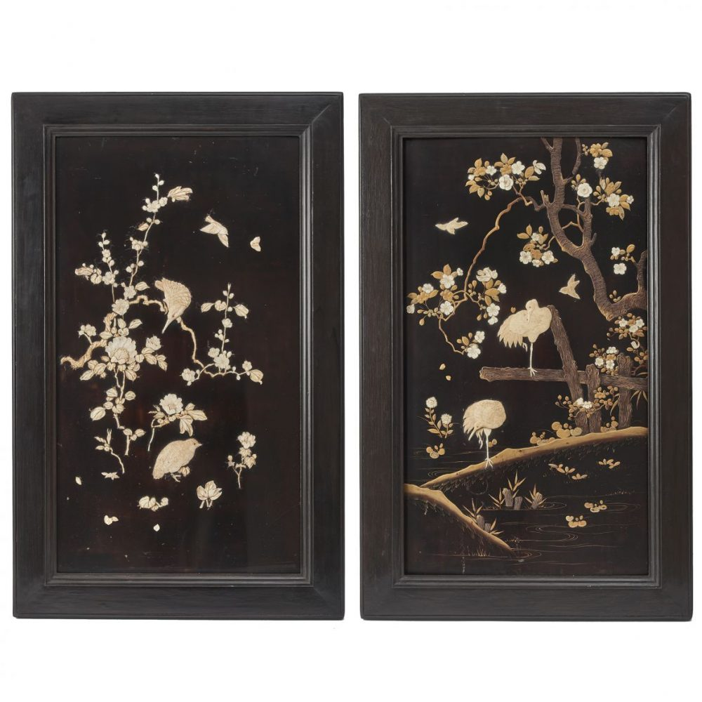 Pair Japanese Lacquer Panels Decorated With Birds And Flowers