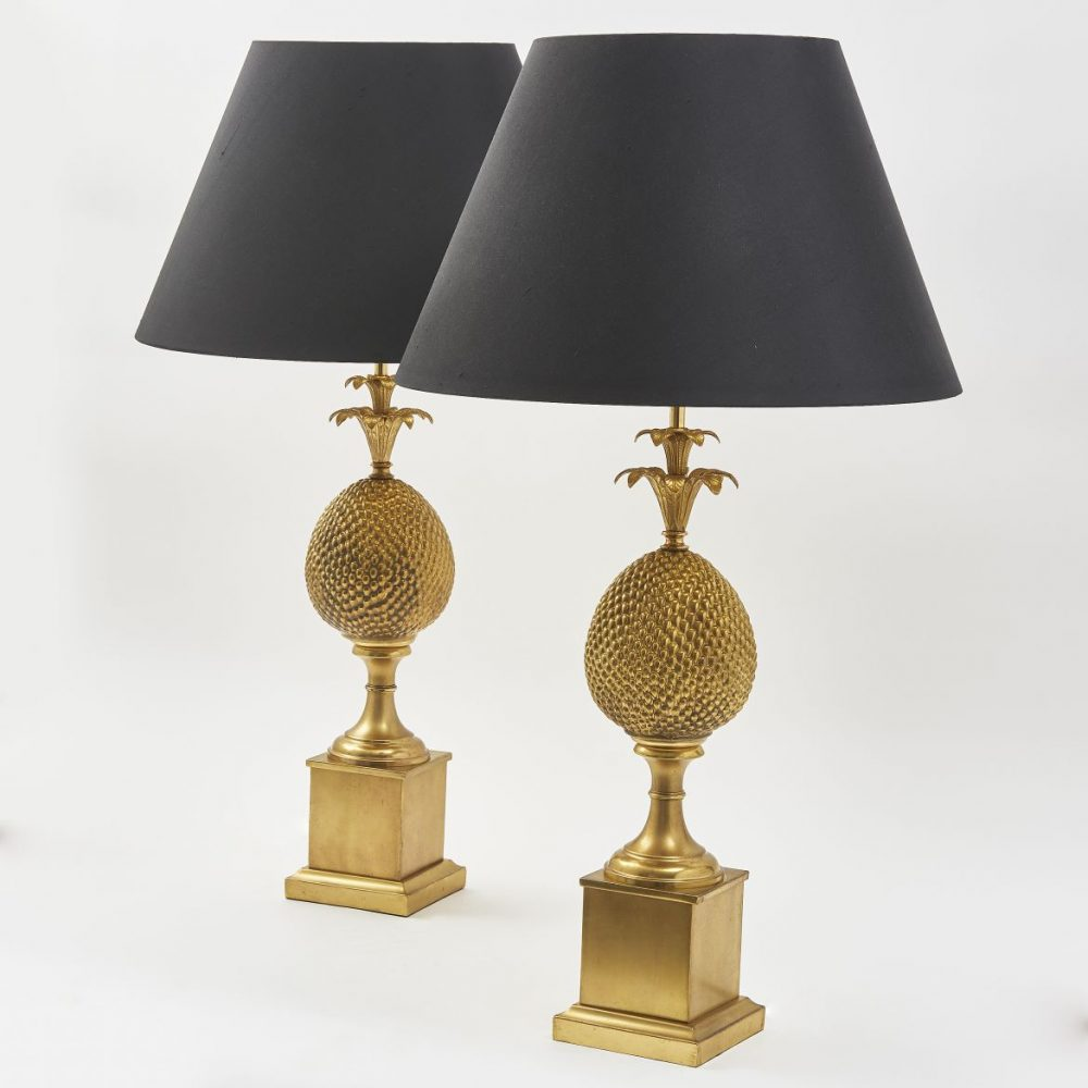 Pair French Gilt Tole Pineapple Lamps