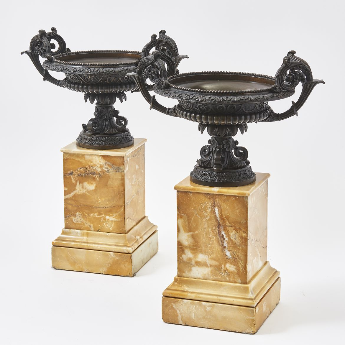 Pair Patinated Bronze Tazzas On Sienna Marble Bases