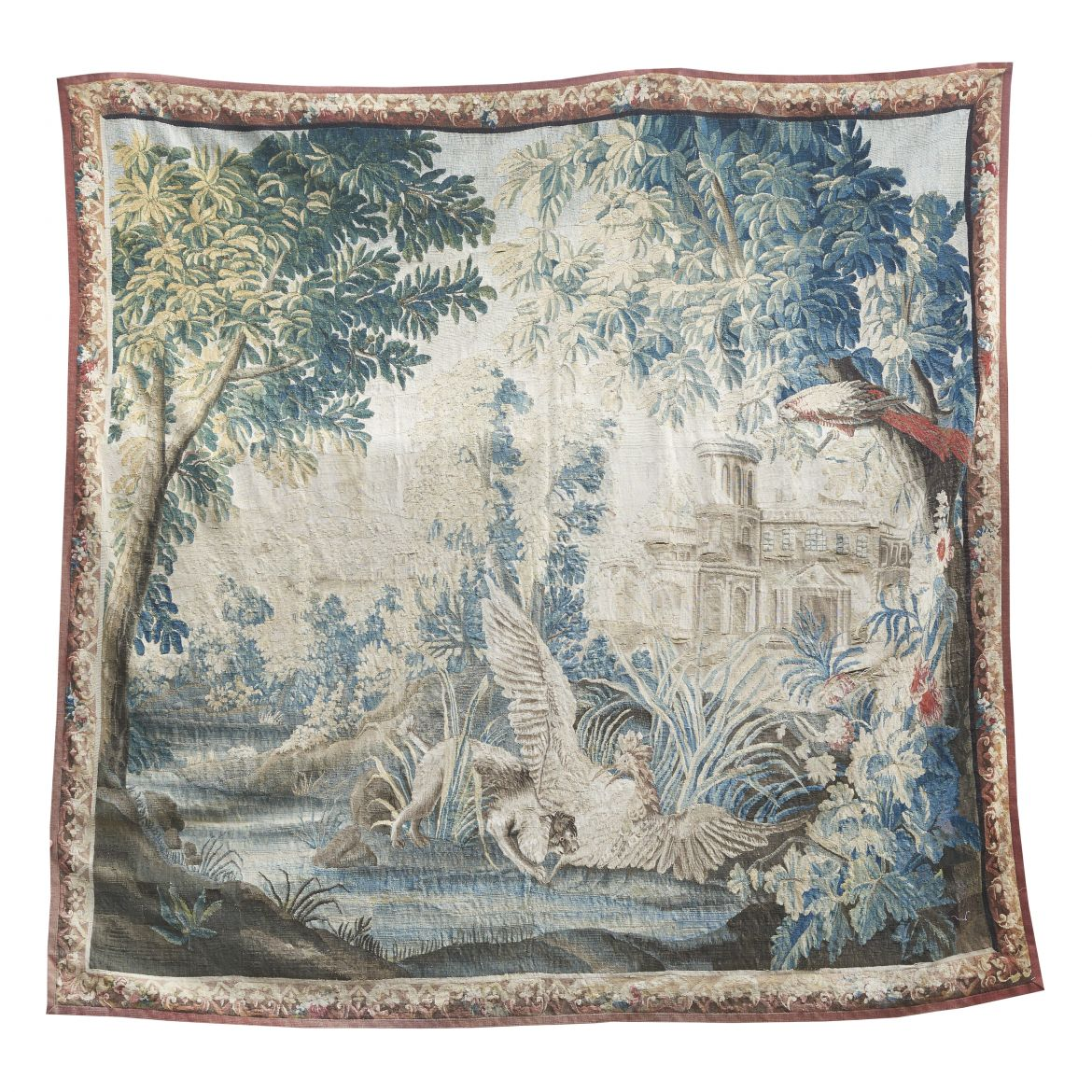 Aubusson Tapestry of Birds And A Dog By A Lake After Drawings By Jean Baptiste Oudry