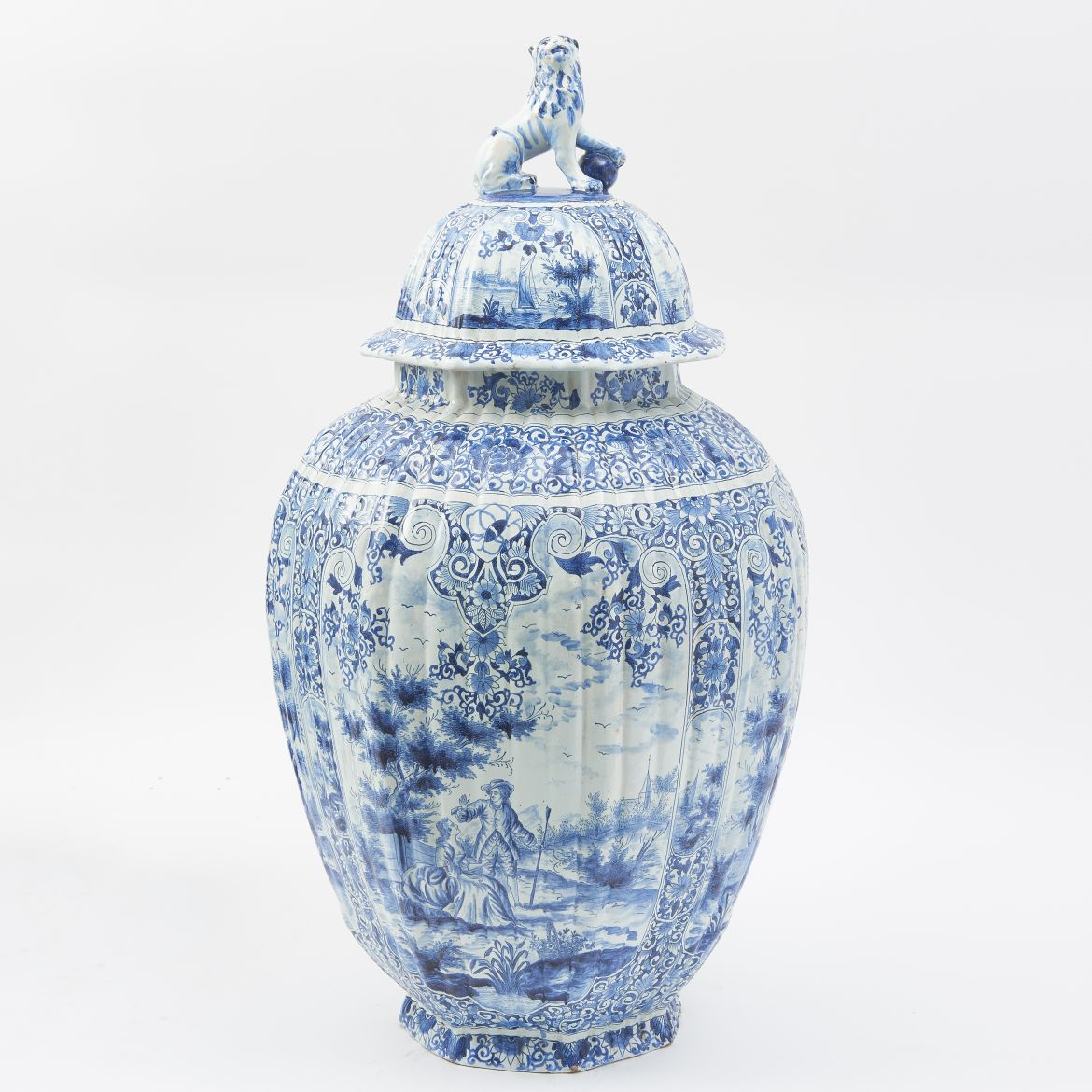 Blue And White Rouen Temple Jar And Lid