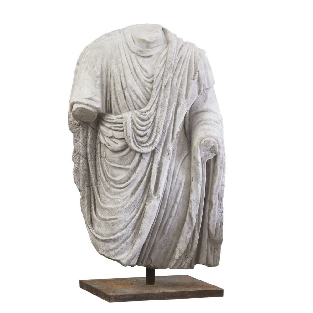 Carved Marble Male Torso Wearing A Toga All'antica
