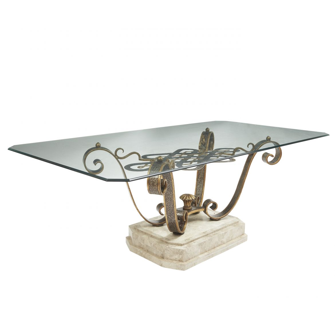 Fournier Wrought Iron And Tesselated Marble Dining Table