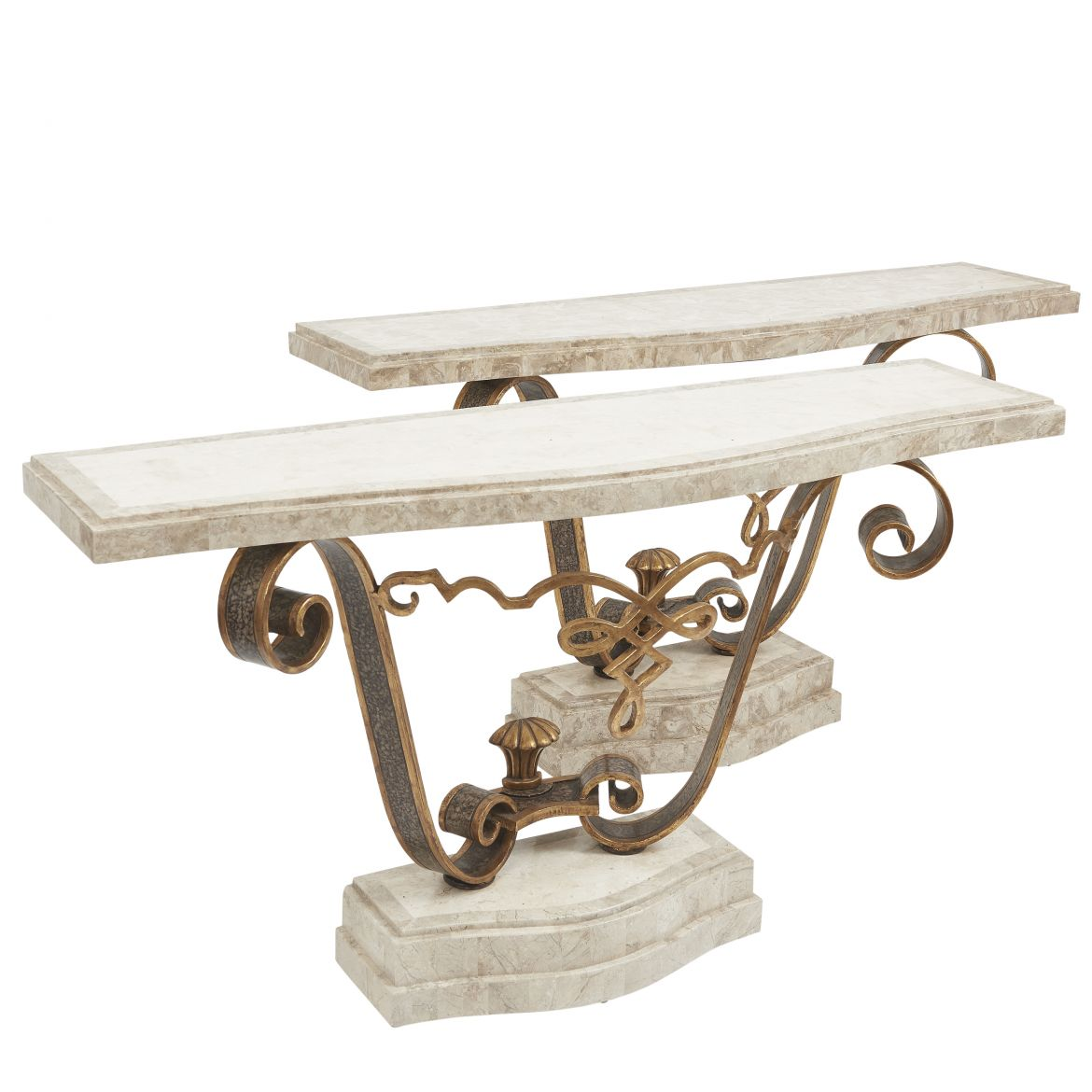 Pair Fournier Wrought Iron And Tesselated Marble Console Tables