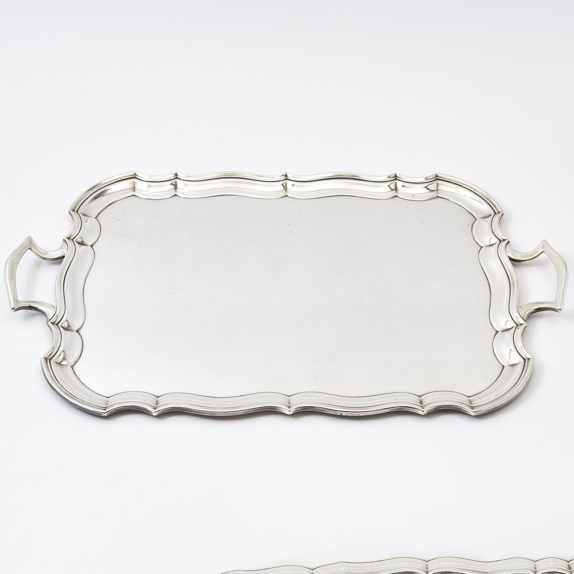 Large Scalloped Edge Silver Plate Tray