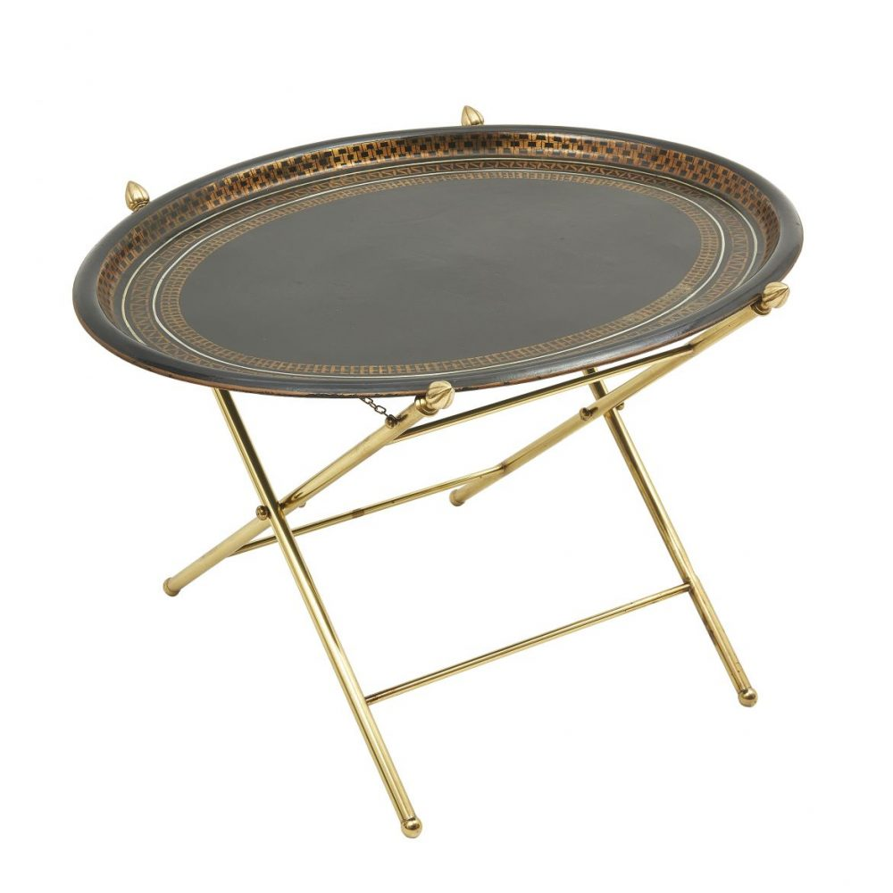 Oval Black Lacquer Tray On Stand