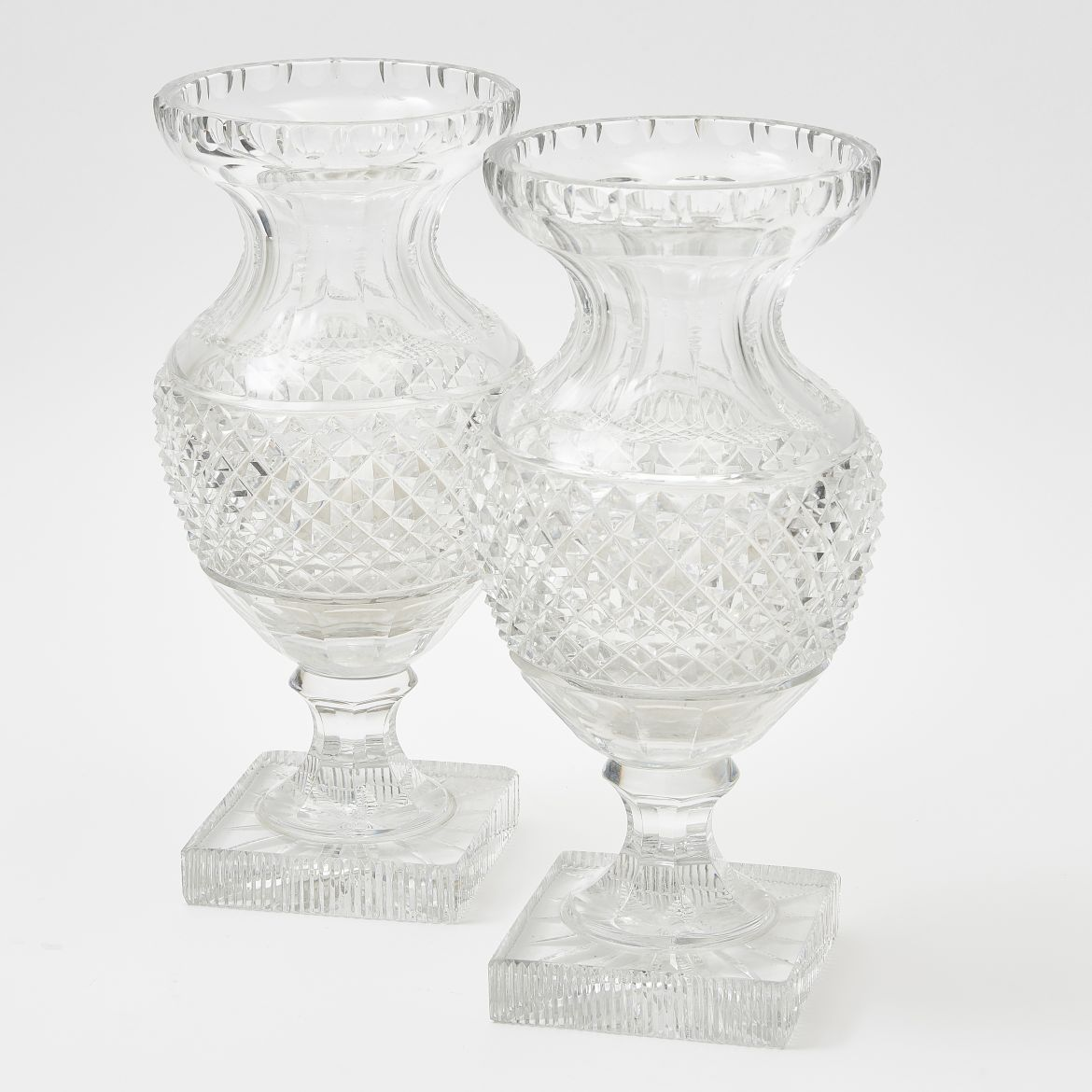 Pair French Cut Crystal Baluster Vases