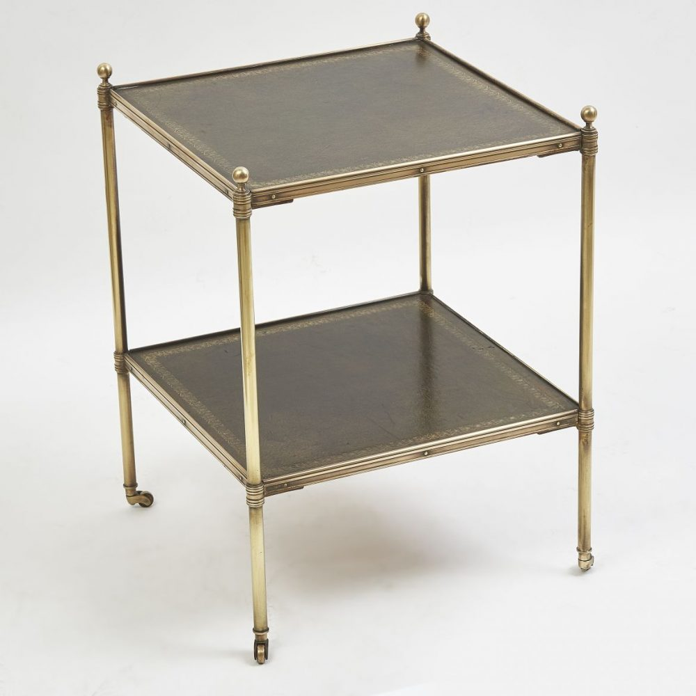 Square Two Tier Side Table With Green Leather