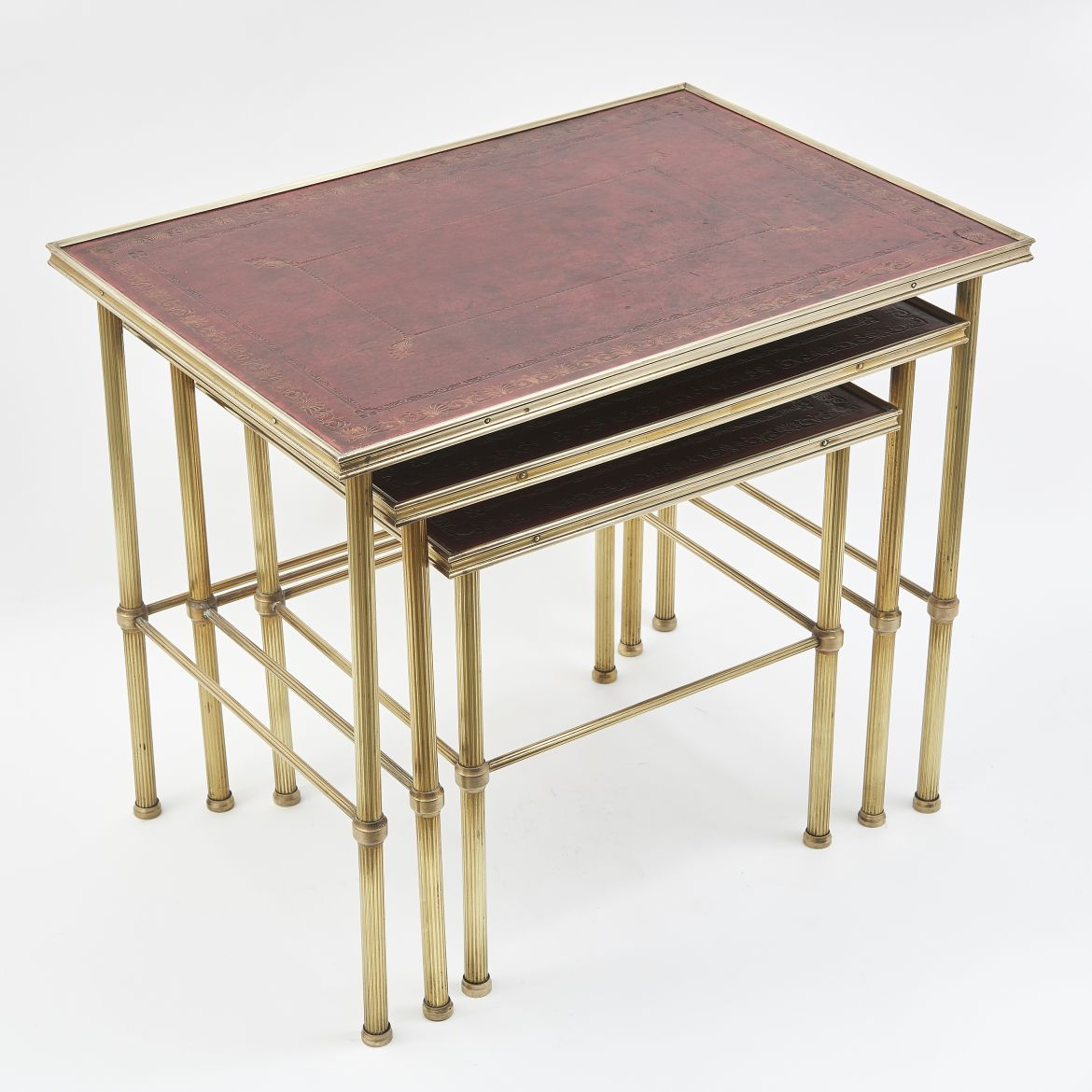 Nest Of Three Brass And Red Leather Sidetables
