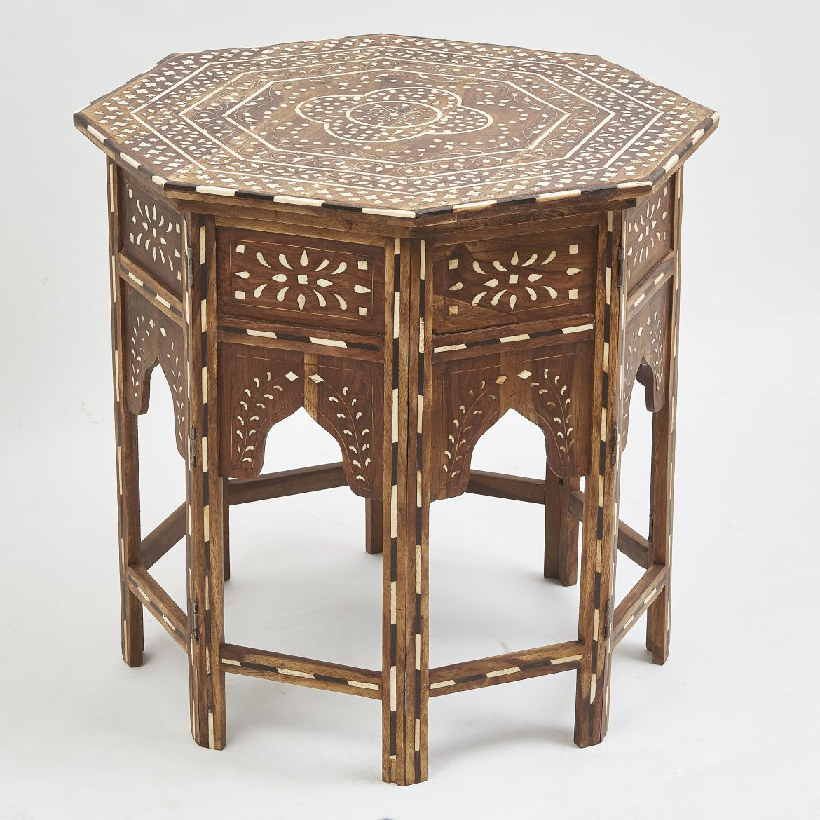 Contemporary Inlaid Table With Floral Design