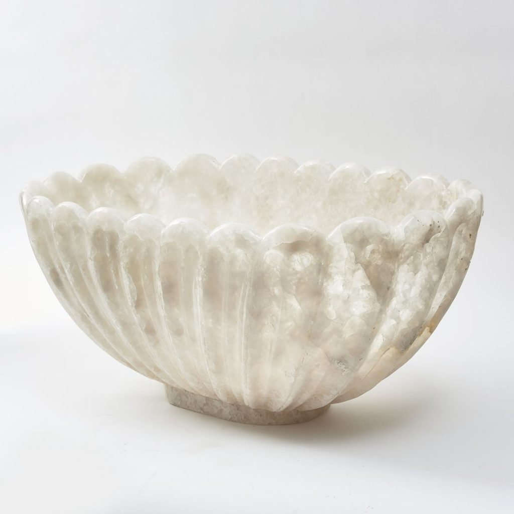 Large Scalloped Edge Rock Crystal Bowl