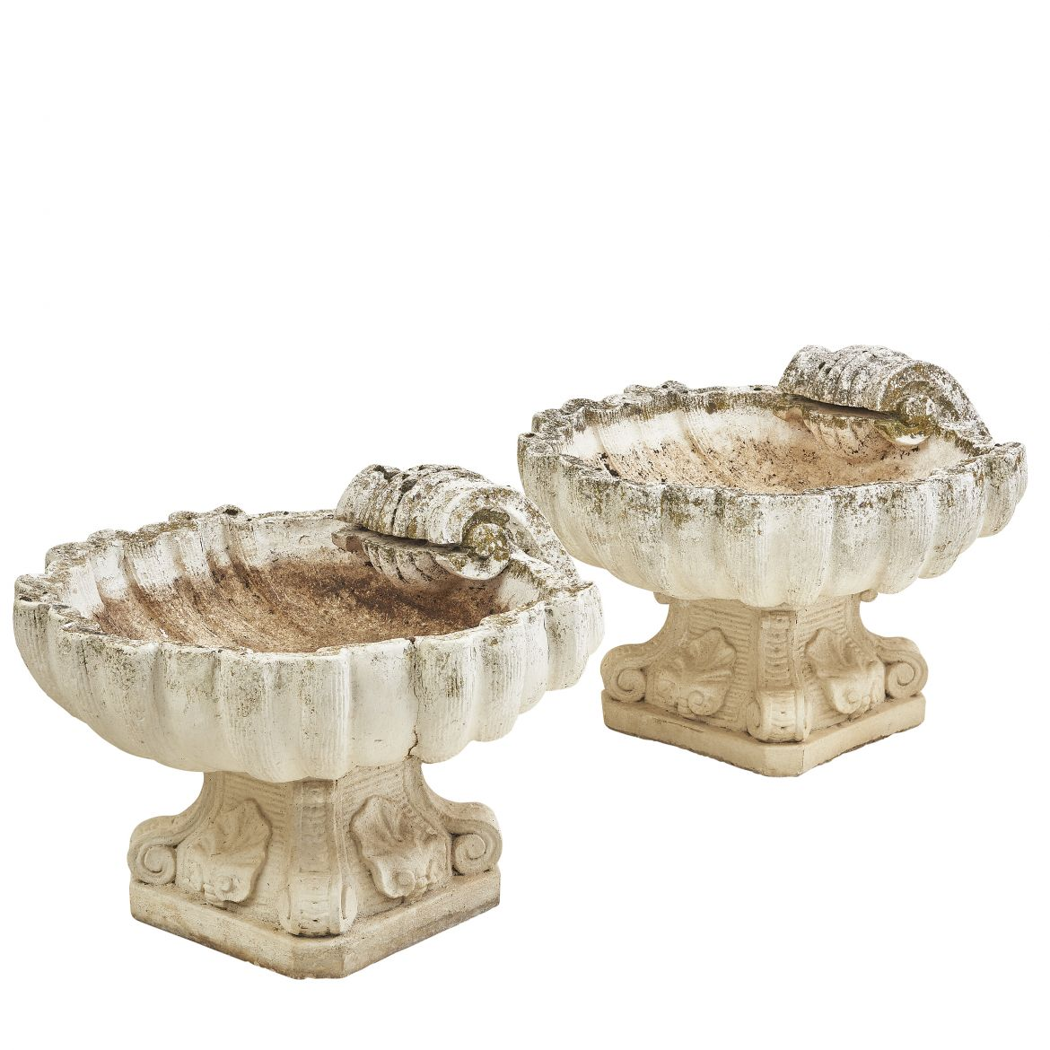 Pair French Stone Shell Shaped Planters