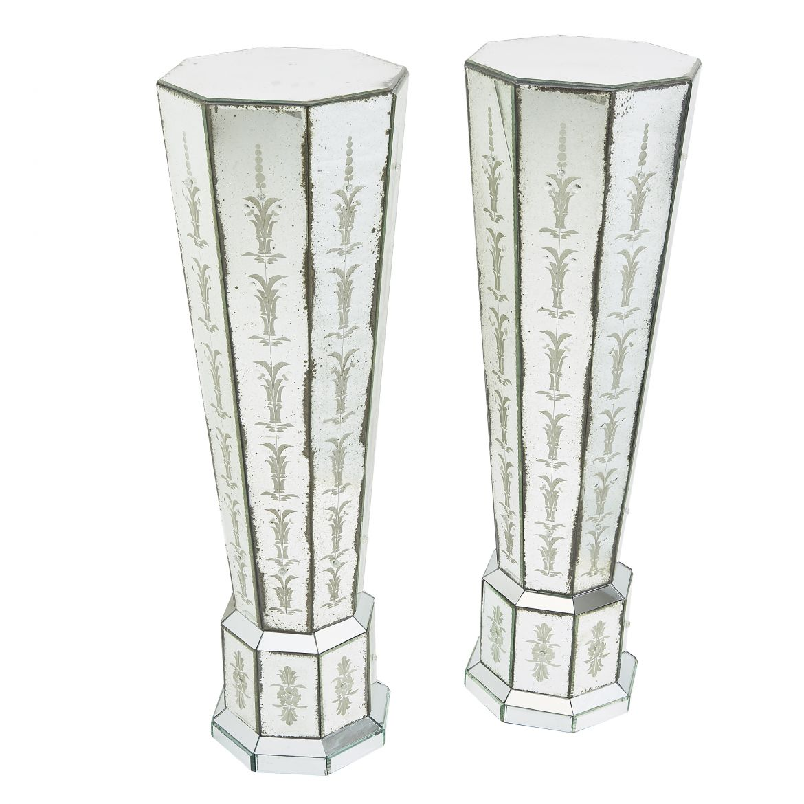 Pair Contemporary Venetian Mirrored Columns