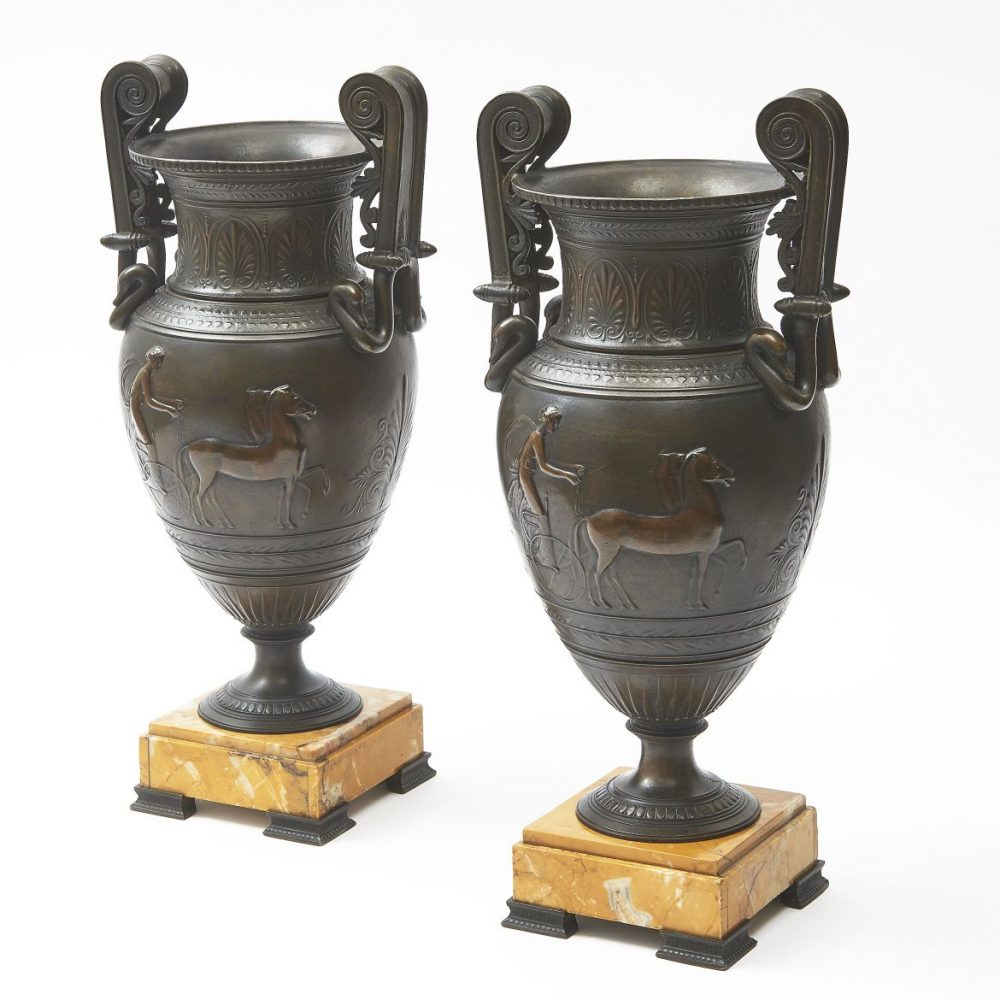 Grand Tour Spelter Amphora Shaped Urns With Sienna Marble Bases