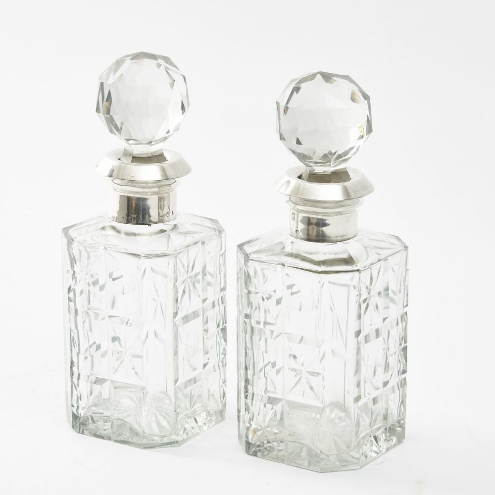Pair Spanish Silver Mounted Cut Glass Decanters