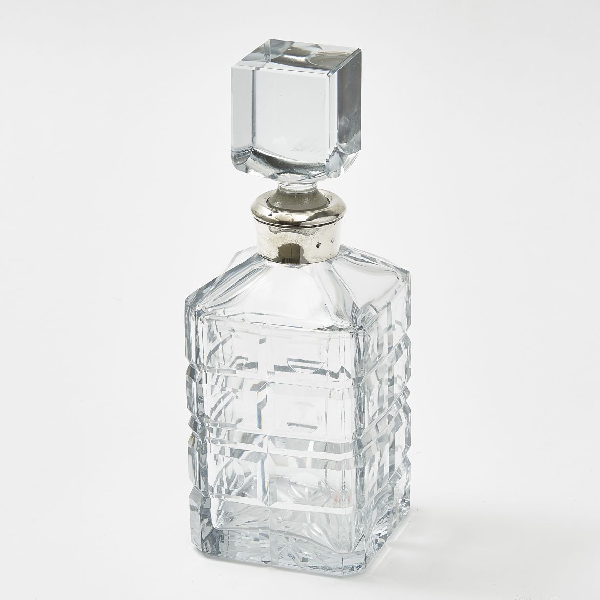 Spanish Silver Mounted Cut Glass Square Decanter