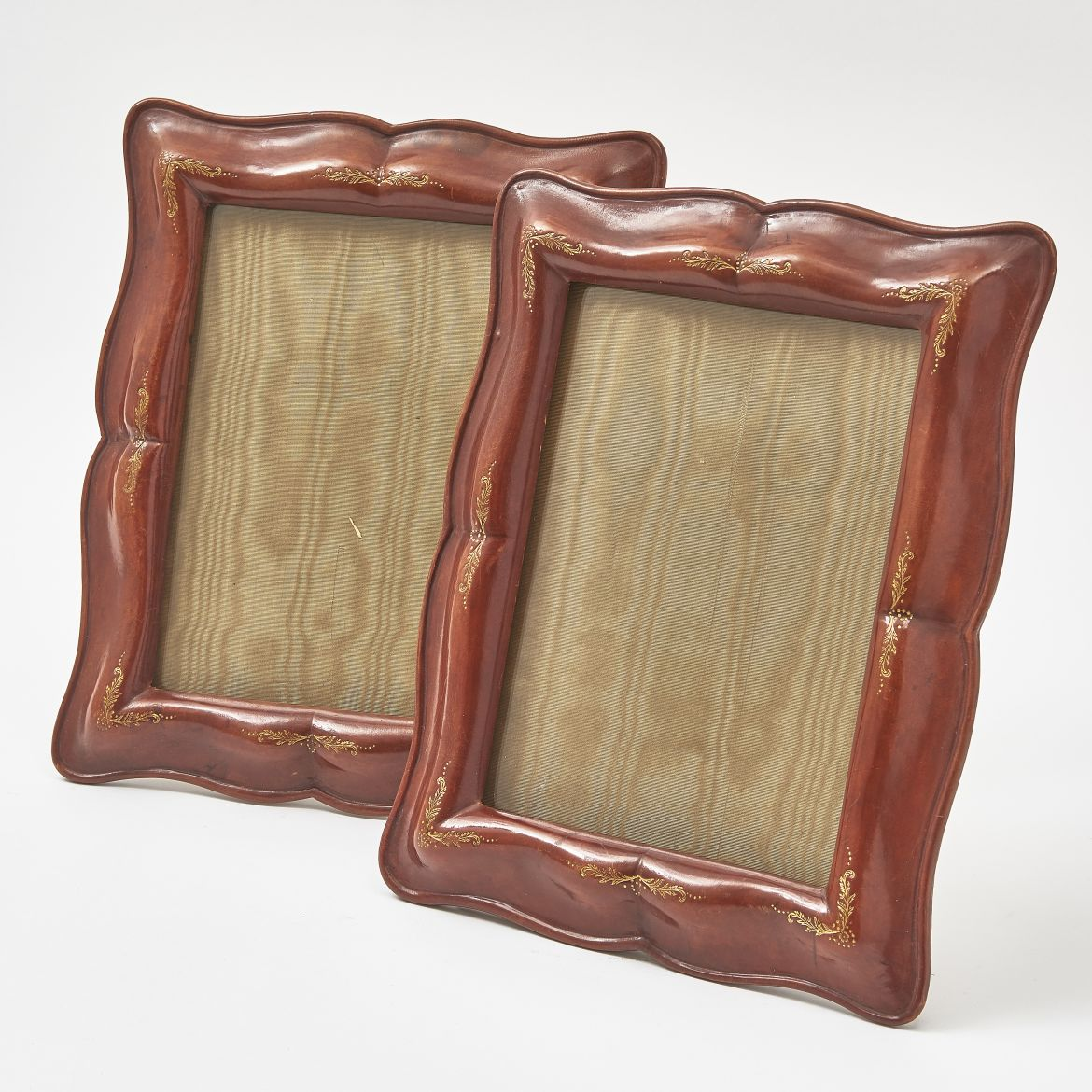 pair Italian Moulded Leather Photo Frames
