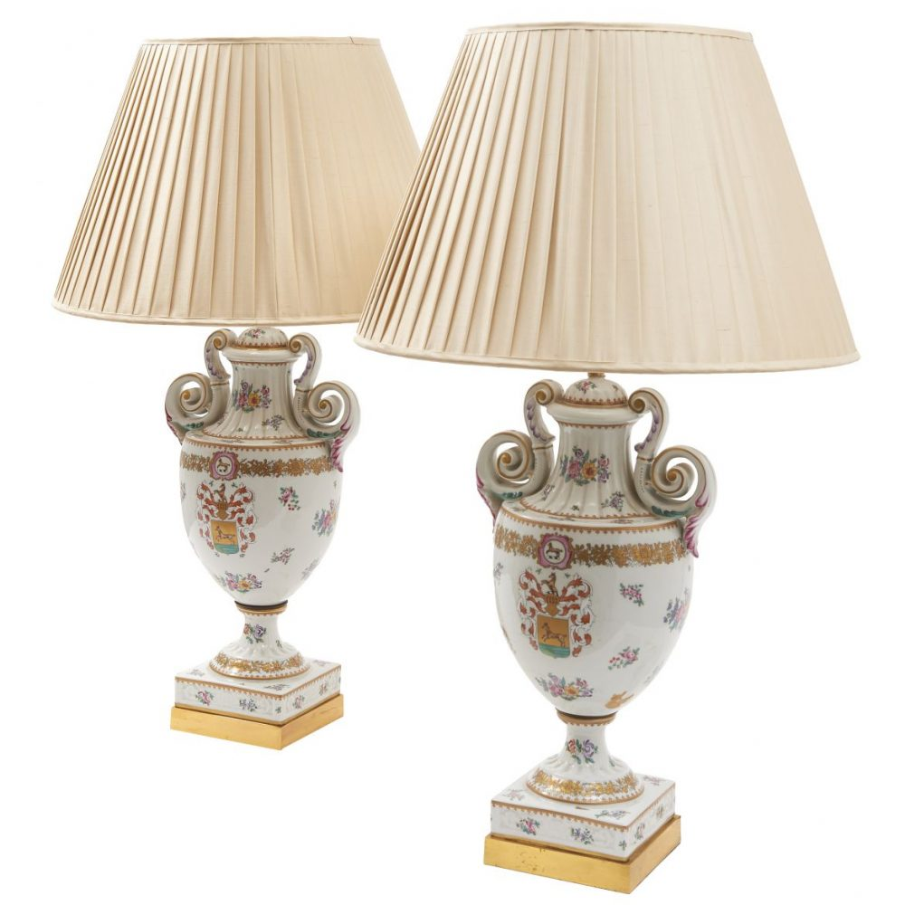 French Armorial Porcelain Amphora Shaped Lamps