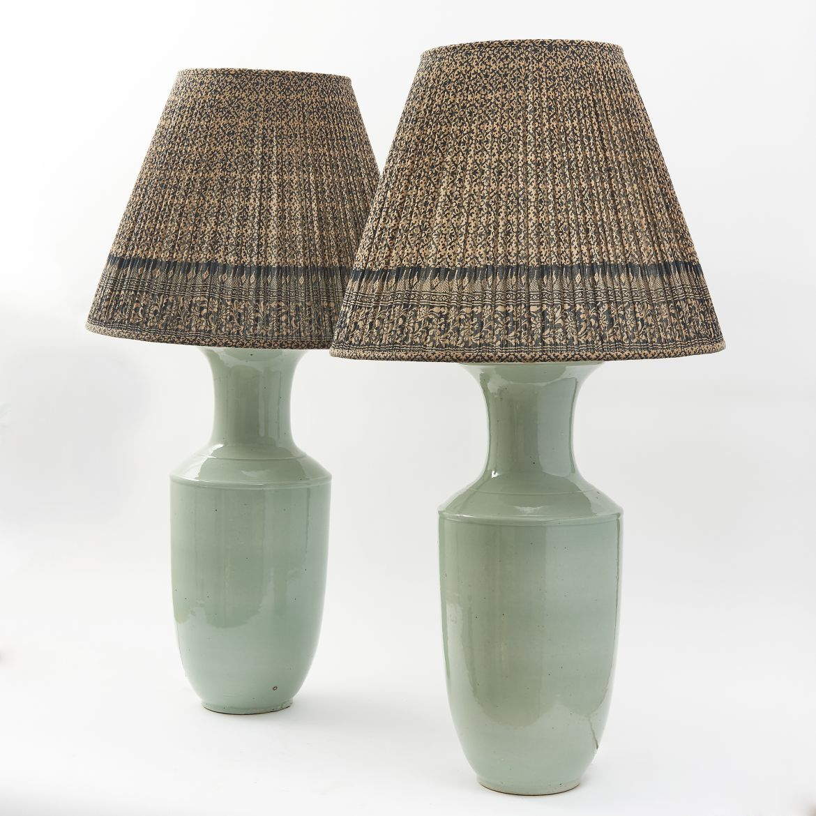 Pair Chinese Celadon Baluster Vases Wired As Lamps