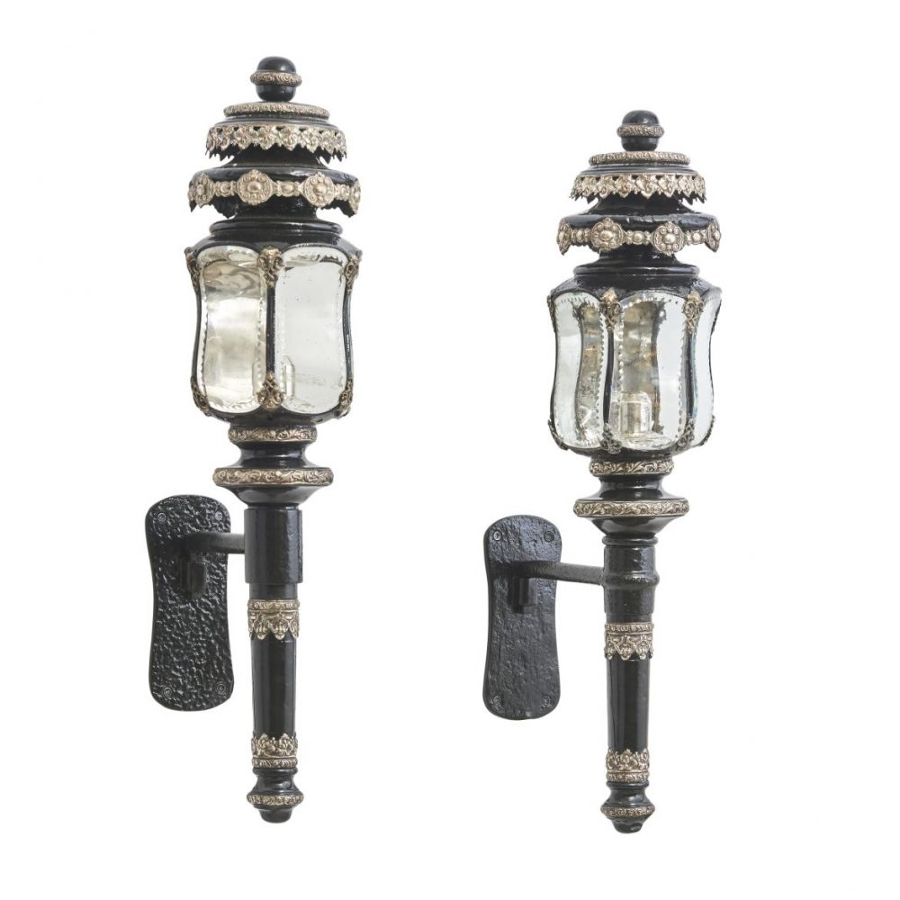 Pair French Tole And Silver Plate Coach Lanterns
