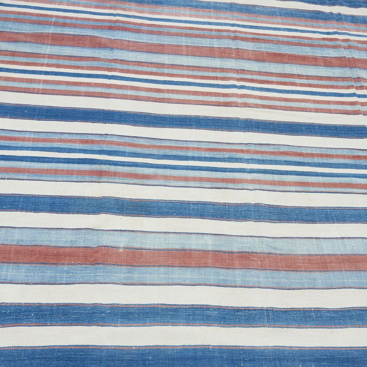 Pale Blue, White, Pink and Dark Blue Striped Dhurrie