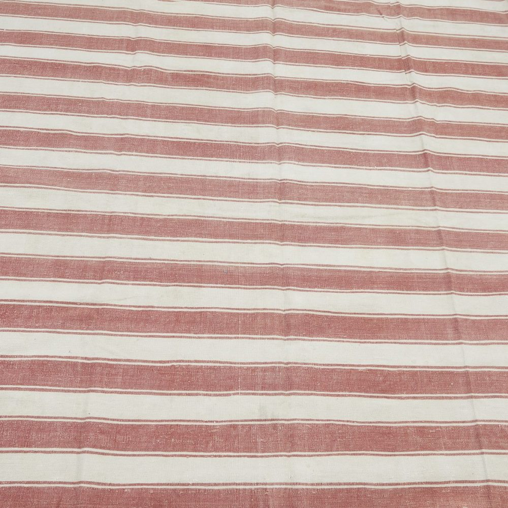 19th Century Deccan Red And White Striped Dhurrie
