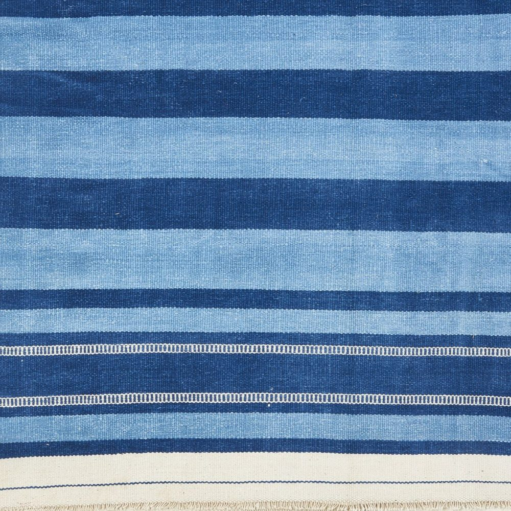 Light And Dark Blue Striped Dhurrie