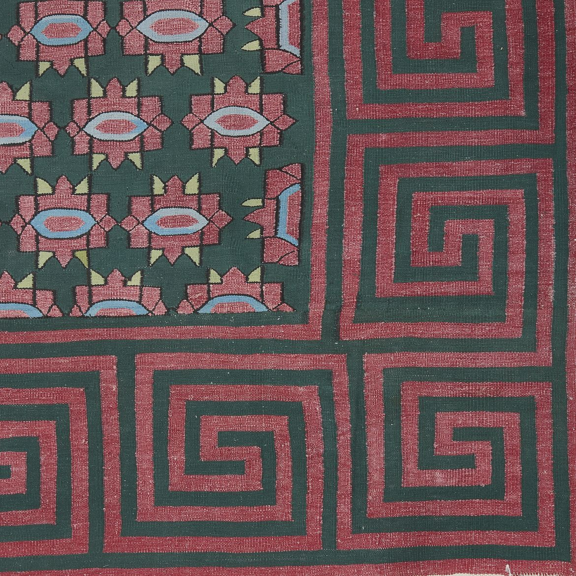 Green And Red Blossom Motif Dhurrie With Greek Key Border