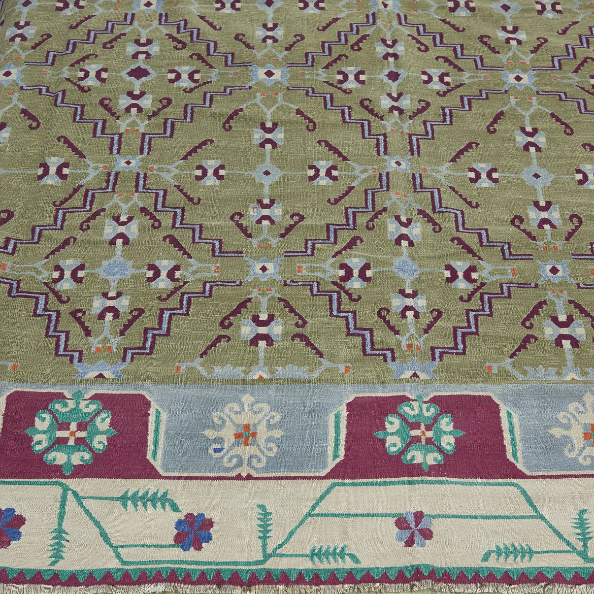 Floral Bordered Deccan Dhurrie